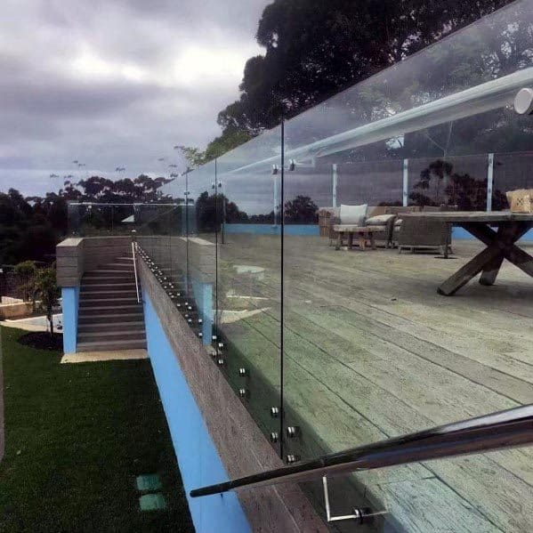 Home Exterior Deck Railing Modern Floating Glass Panels