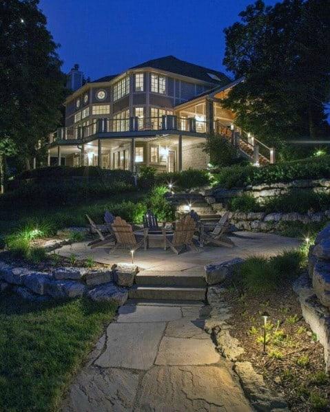 Home Exterior Designs Landscape Lighting Firepit Backyard