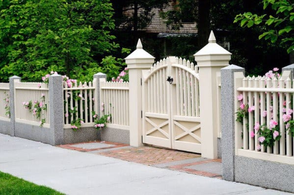 Home Exterior Front Yard Fence White Gate