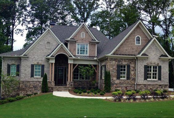 Home Front Yard Brick And Stone Exterior