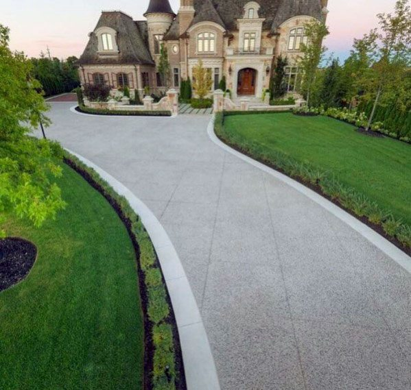 Home Front Yard Long Concrete Driveway Design Ideas