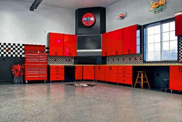 Home Garage Custom Red Cabinets For Storage