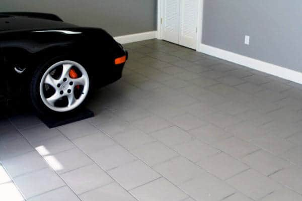 Home Garage Design With Grey Tiles