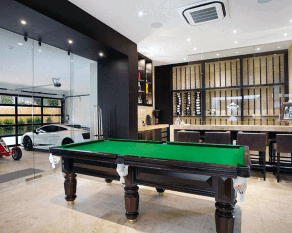 Home Garage With Billiards Room Glass Door And Bar