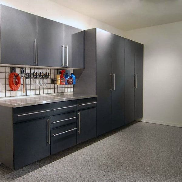 Home Garage With Storage Cabinets Simple Design Ideas