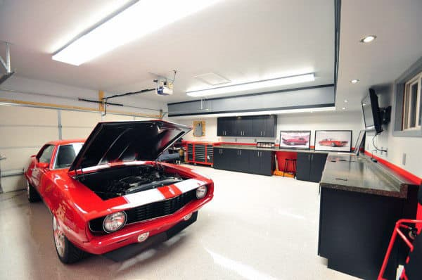 Home Garage With White Walls And Contrasting Red Paint