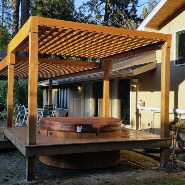 Home Hot Tub Deck Ideas With Wood Pergola