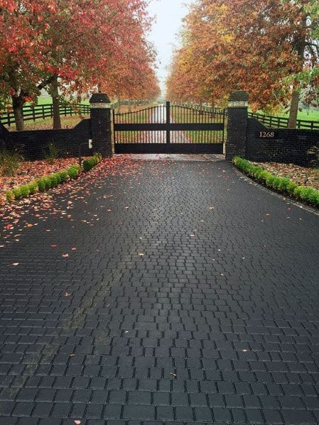 Home Ideas Black Stamped Cobblestone Concrete Driveway