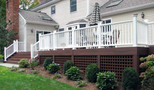 Home Ideas Brown Painted Lattice Deck Skirting