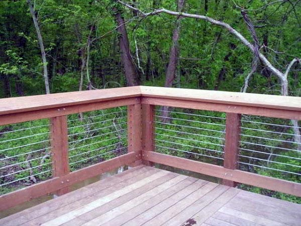 Home Ideas Deck Railing Wood With Steel Wire