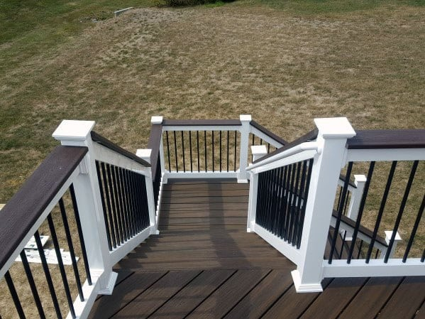 Home Ideas Deck Steps White And Brown Composite