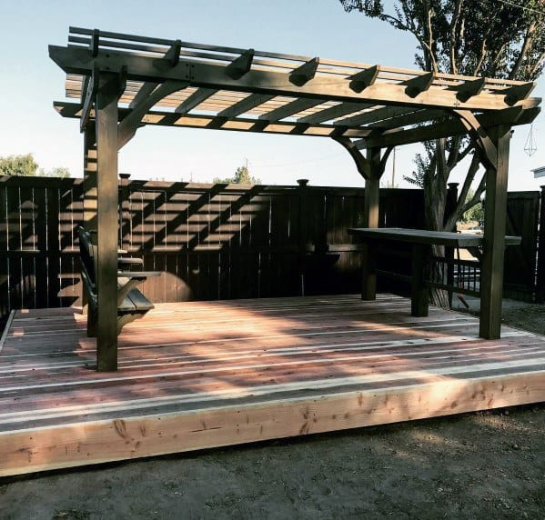 Home Ideas Floating Deck With Wood Pergola