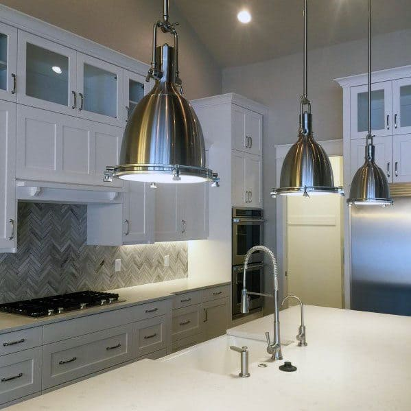 Home Ideas Herringbone Stone Backsplash For Kitchen