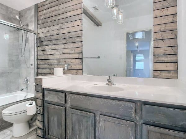 Home Ideas Natural Rustic Look Wood Bathroom Walls