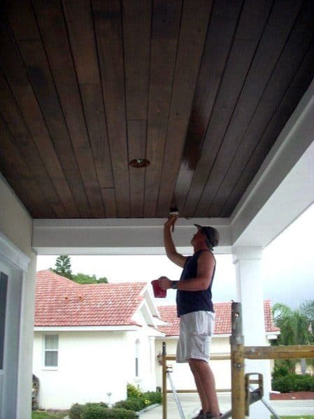 Home Ideas Porch Ceiling Dark Brown Wood Stain