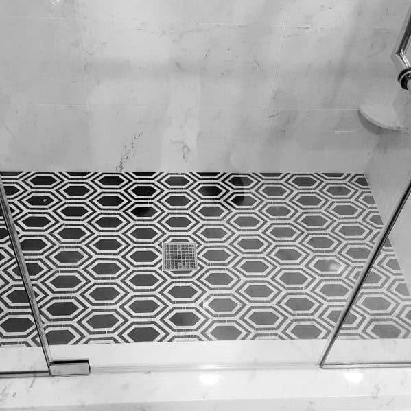 Home Ideas Shower Floor Tiles Black And White Pattern