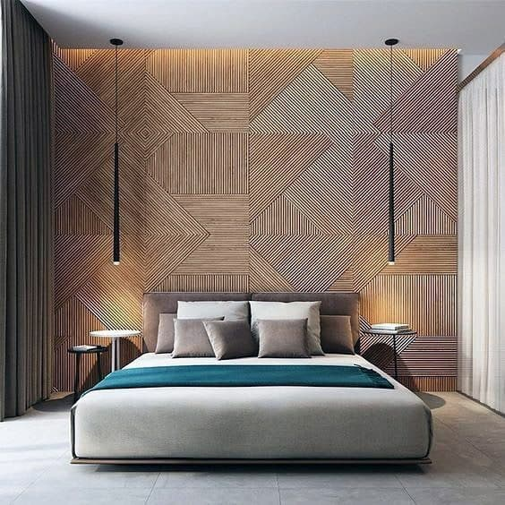 Home Ideas Textured Wall Wooden Bedroom