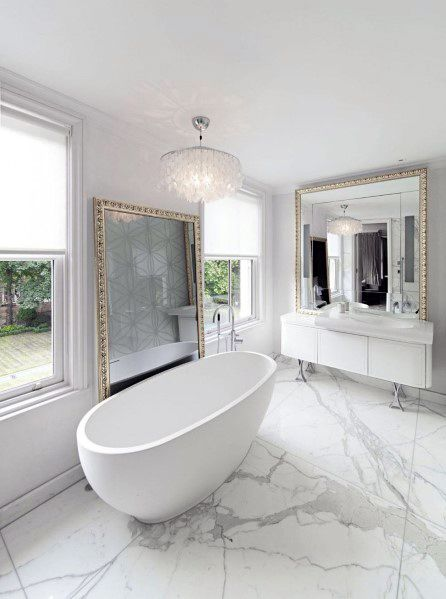 Home Ideas White Bathrooms Marble Floors