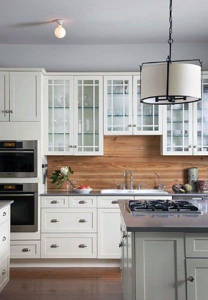 minimalist wooden kitchen unit with colorful mosaic backsplash | Top 60 Best Wood Backsplash Ideas - Wooden Kitchen Wall ...