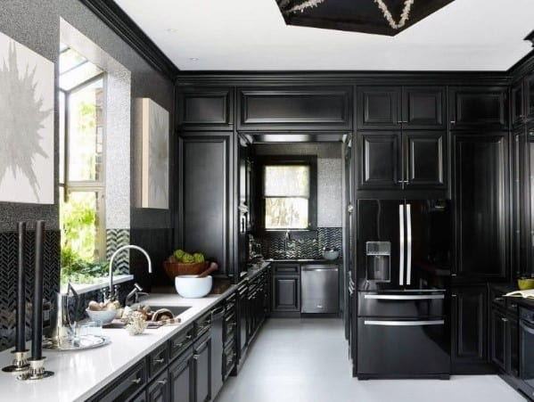Home Interior Black Kitchen Cabinet