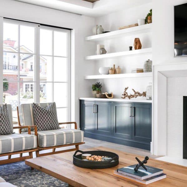 Home Interior Built In Bookshelves Bookcase White And Blue