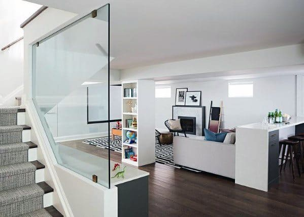 Home Interior Designs Basement Stairs With Large Glass Panel