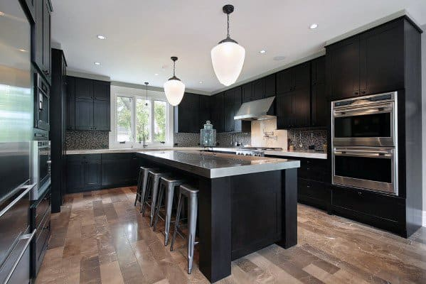 Home Interior Designs Black Kitchen Cabinet