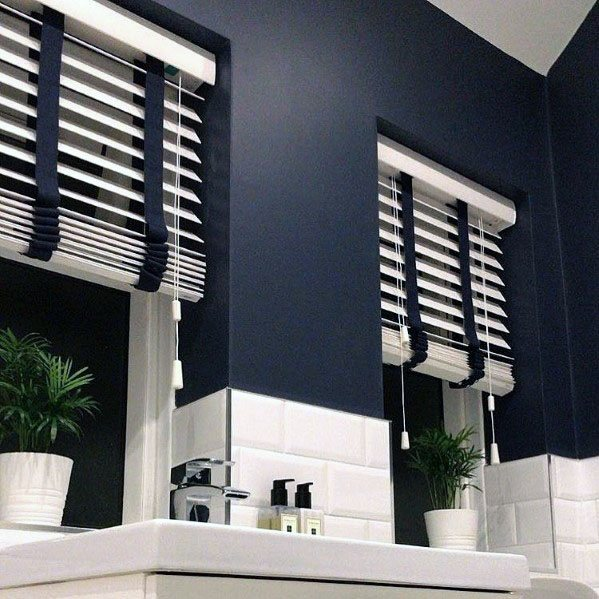 Home Interior Designs Blue Walls With White Subway Tile Bathroom