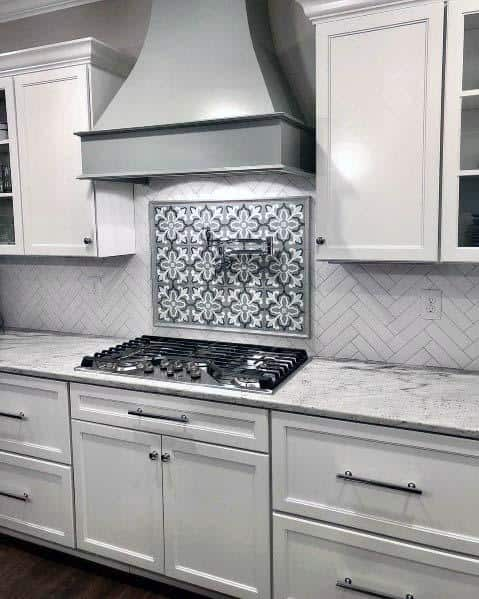 Home Interior Designs Light Grey Kitchen Hood With White Cabinets