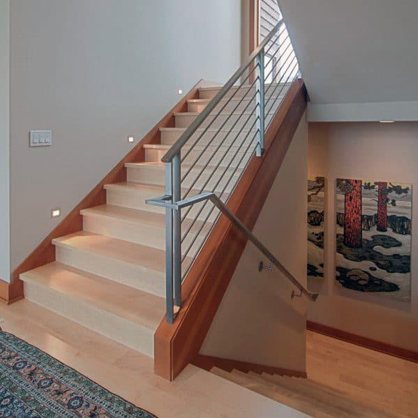 Wooden Stairs With Painted Stripes Updating Interior: Top 60 Best Stair Trim Ideas