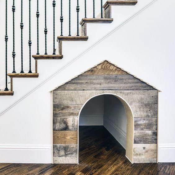 Home Interior Designs Under Stairs Dog House With Reclaimed Barn Wood Finish