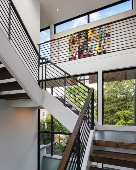Home Interior Designs Wood Stairs With Metal Railing