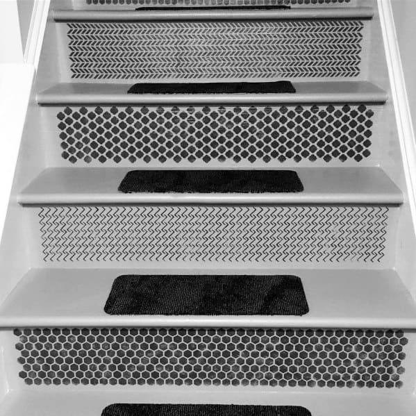 Home Interior Painted Stairs Black Pattern On Risers