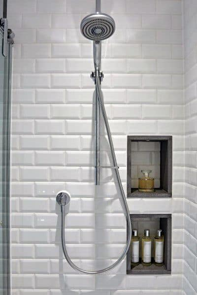 Home Interior Subway Tile Shower White