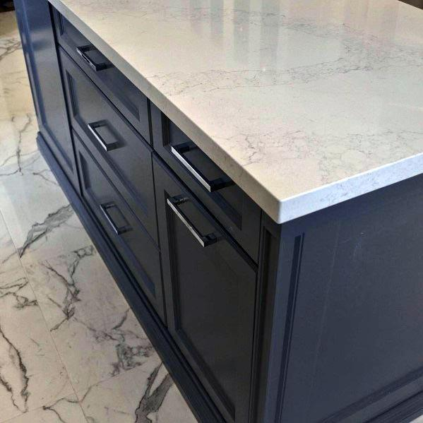 Home Kitchen Ideas Dark Grey Cabinets With Marble Flooring