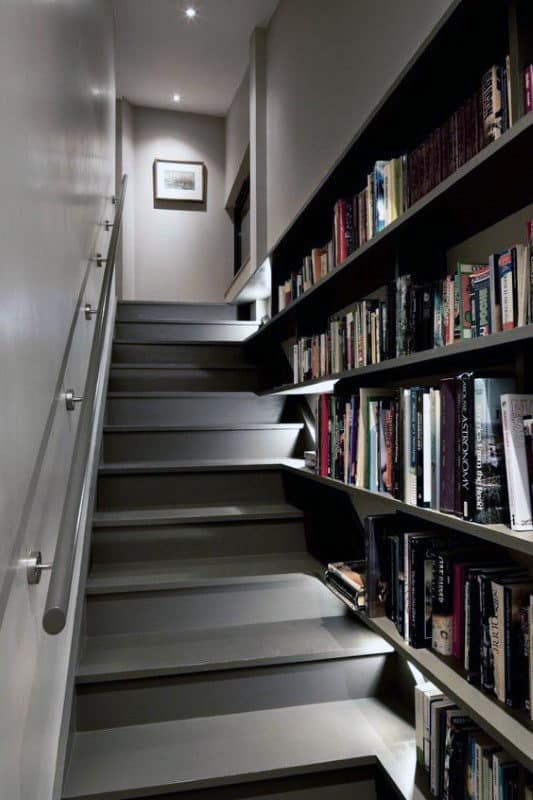 Home Library Bookcases Running Alongside Stairs