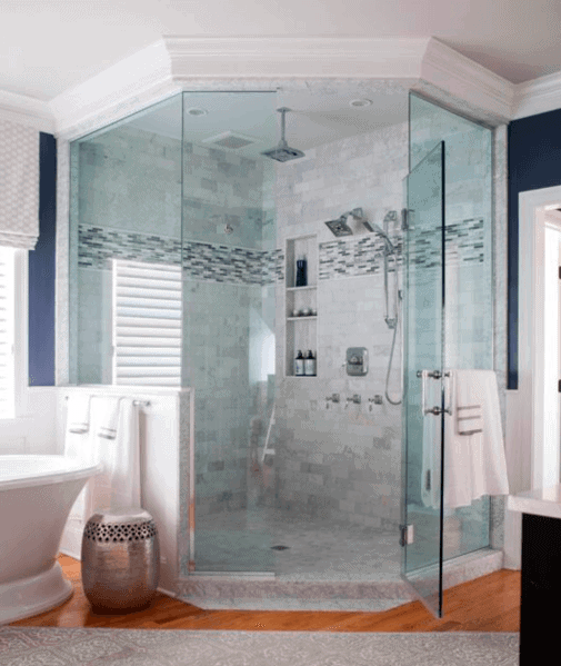 Home Master Bathroom Designs Corner Shower