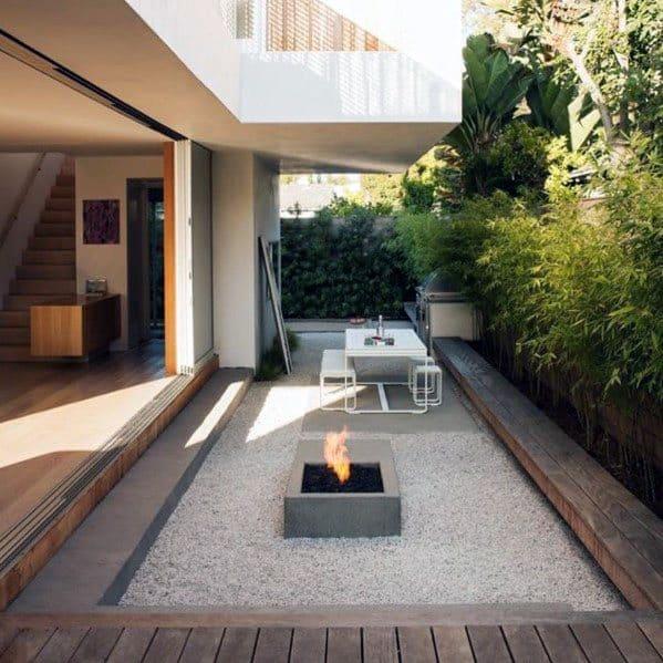 Home Modern Deck Ideas Gravel Sunken Firepit