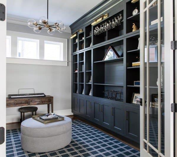 Home Office Black Built In Bookcase Design Ideas