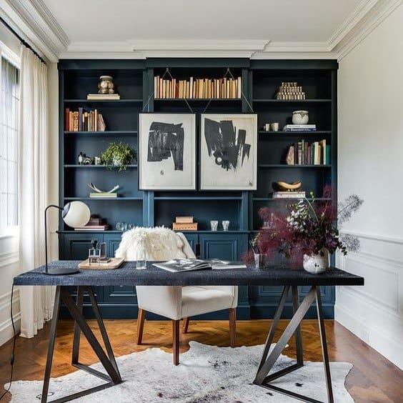 Home Office Blue Floor To Ceiling Bookshelves Design Ideas