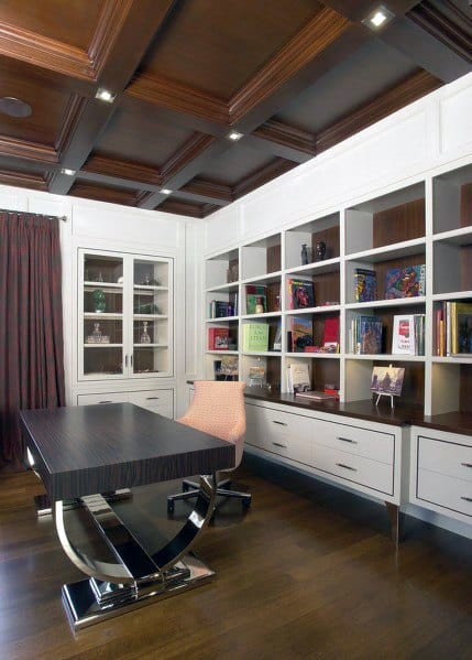 Home Office Coffered Wood Ceiling Ideas