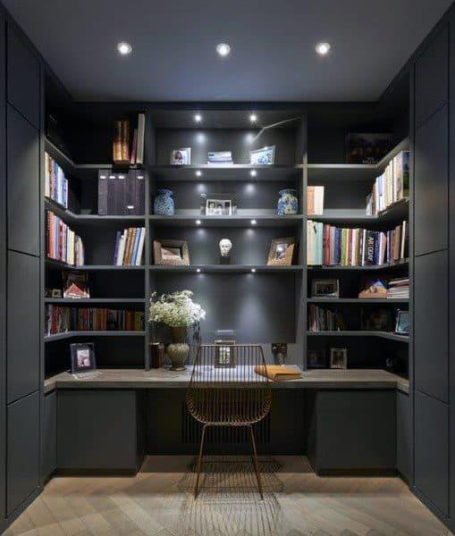 Home Office Grey Built In Bookshelf Ideas