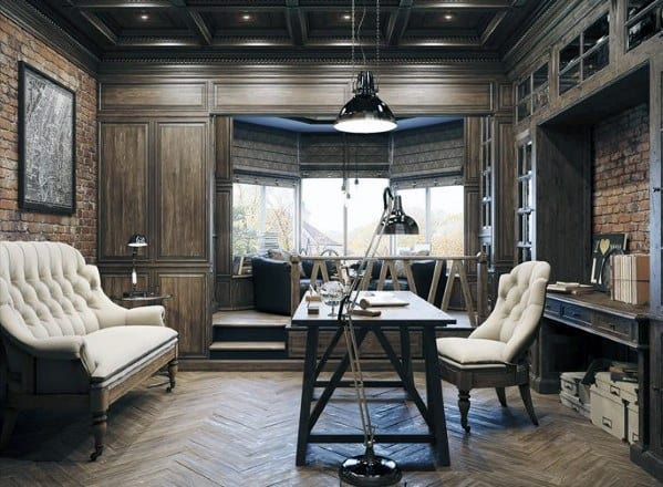 Home Office Ideas For Coffered Ceilings