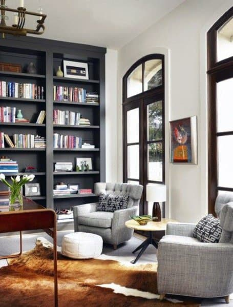 Home Office Interior Designs Floor To Ceiling Bookshelves