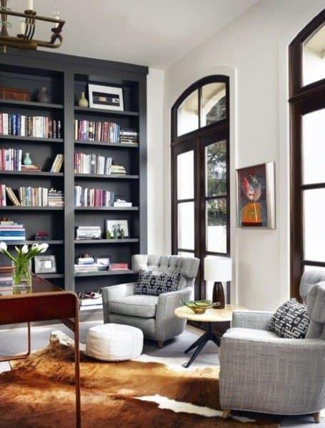 Home Office Interior Designs Floor To Ceiling Bookshelves