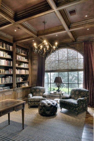 Make A Living Room A Library: Top 60 Best Wood Ceiling Ideas