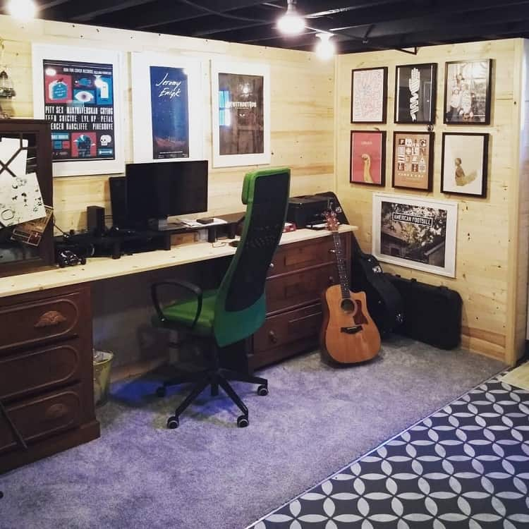 Home Office Unfinished Basement Ideas