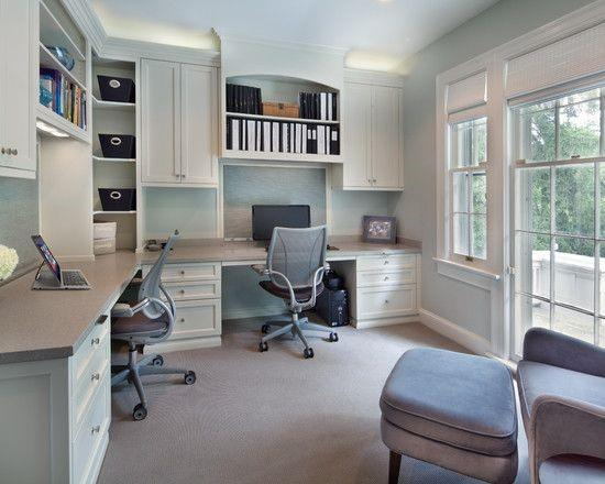 Home Office White Cabinets Built In Desk Ideas