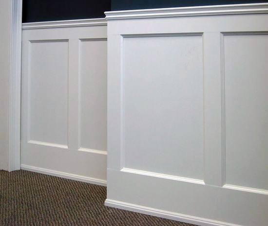 Home Office White Painted Chair Rail Molding Design Ideas