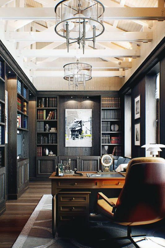 Home Office With Private Home Library